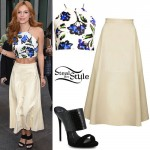 Bella Thorne: Floral Top, Leather Skirt
