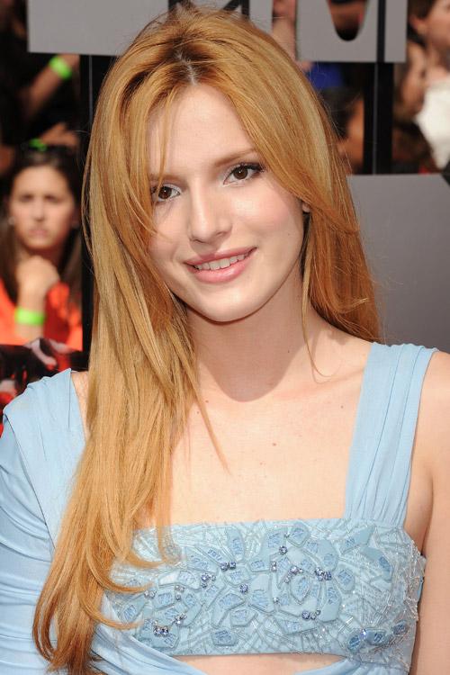 Bella Thorne Straight Ginger Angled Overgrown Bangs
