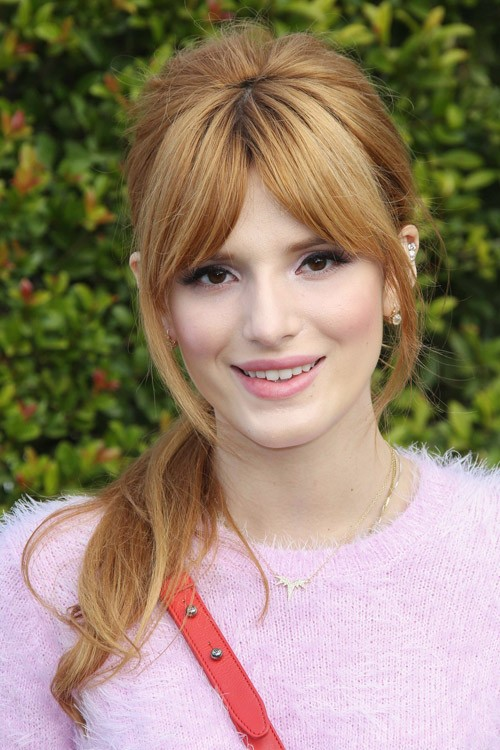 Bella Thorne Straight Ginger Curved Bangs High Ponytail