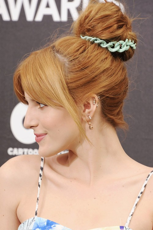 Bella Thorne Straight Ginger Bun Curved Bangs Updo