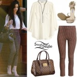 Camila Cabello: V-Neck Blouse, Printed Pants