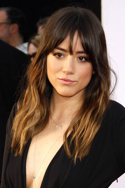 Chloe Bennet Wavy Medium Brown Curved Bangs Ombre Hairstyle Steal