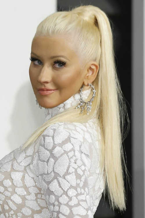 Christina Aguilera Straight Platinum Blonde High Ponytail, Ponytail ...