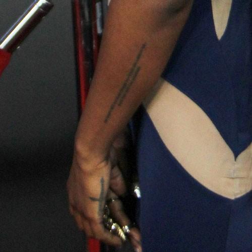 Rosary tattoo around arm