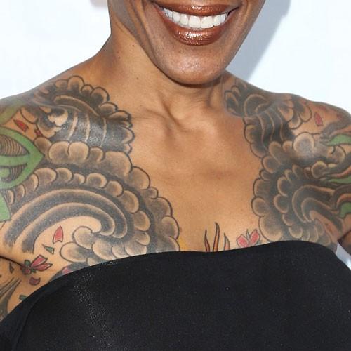 Debra Wilson Cherry Blossom Waves Chest Tattoo Steal