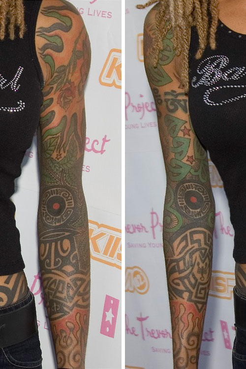 debra wilson flame leaf swirl tribal design elbow