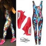Ella Eyre: Printed Catsuit, Neon Sneakers