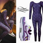 Ella Eyre: Purple Geometric Catsuit
