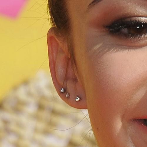 Celebrity helix ear piercings