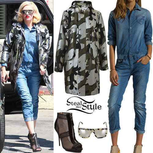 Gwen Stefani: Denim Jumpsuit, Camo Jacket