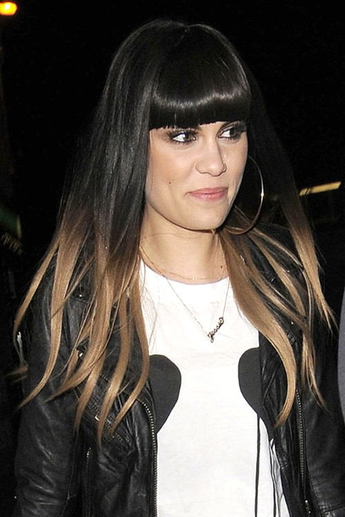 Jessie J Straight Dark Brown Ombré, Straight Bangs ...