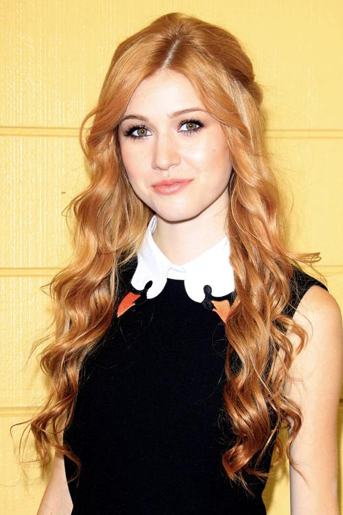 Katherine Mcnamara Wavy Ginger Barrel Curls Half Up Half