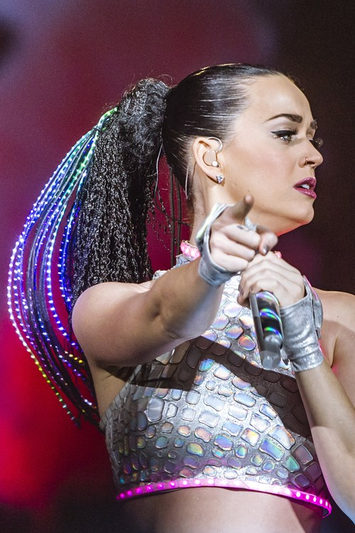 Katy Perry Crimped Black Extensions Faux Dreads High