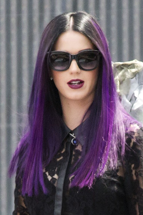 Katy Perry Straight Purple Dark Roots Flat Ironed Uneven