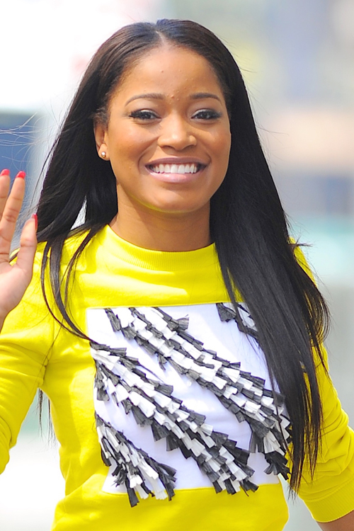 Keke Palmer Straight Black Angled Flat Ironed Hairstyle
