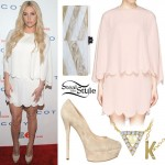 Kesha: White Scalloped Dress