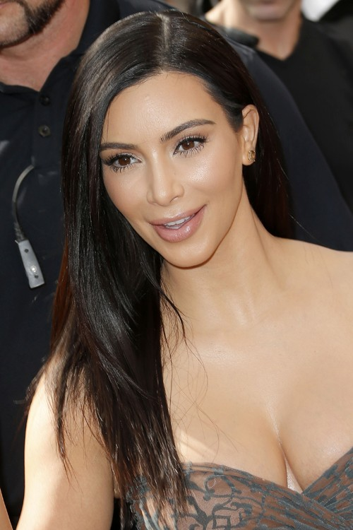 Kim Kardashian Straight Dark Brown Flat-Ironed Hairstyle ...