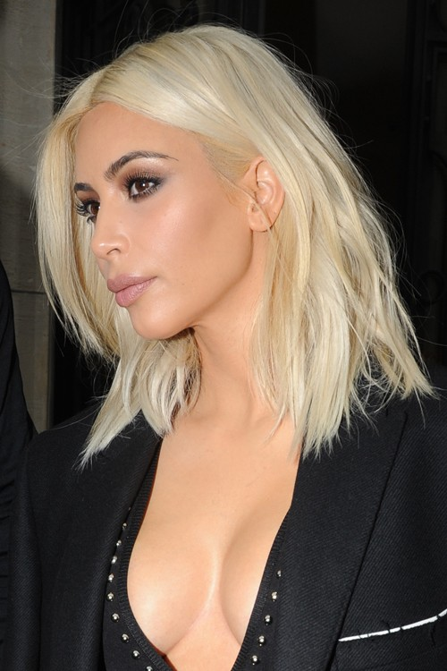 Super Kim Kardashian Straight Platinum Blonde Angled Bob Hairstyle Short Hairstyles Gunalazisus