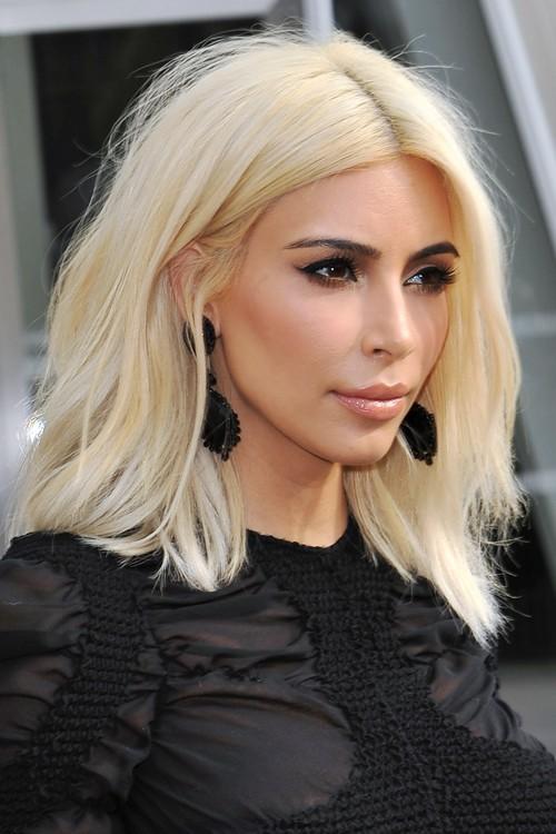 Kim Kardashian Straight Platinum Blonde Bob Hairstyle ...