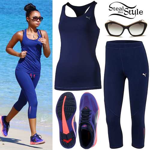 Leigh-Anne Pinnock jogging on the beach in Jamaica. April 20th, 2015 - photo: little-mix.org
