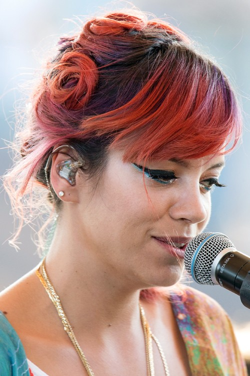Lily Allen Straight Red Sideswept Bangs Twists Updo