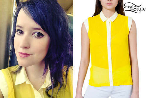 Mariel Loveland: Yellow Sleeveless Blouse
