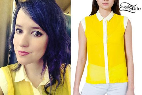 Mariel Loveland: Yellow Sleeveless Blouse