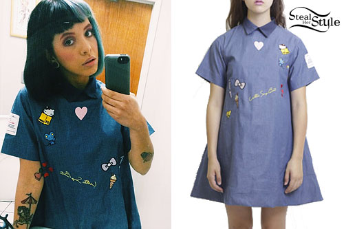 Melanie Martinez: Embroidered Chambray Shirtdress