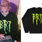 Miley Cyrus: 'BRI' Scratch Lettering Crewneck