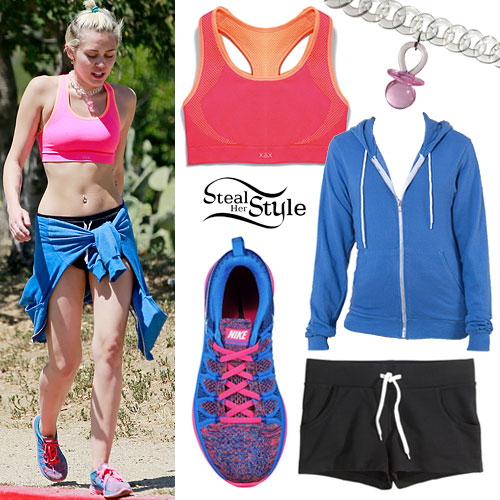 Miley Cyrus: Pink Sports Bra Outfit