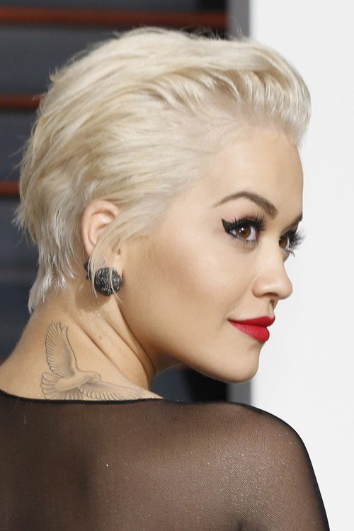 Rita Ora Straight Platinum Blonde Choppy Layers Hairstyle