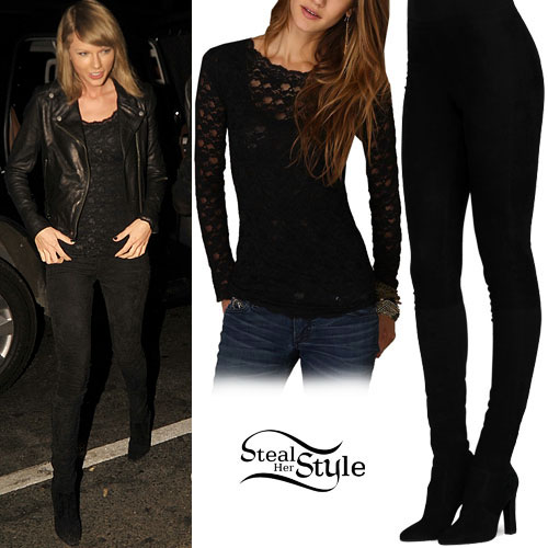 Taylor Swift: Lace Top, Suede Legging-Boot