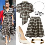 Zendaya: Brown Plaid Blouse & Skirt