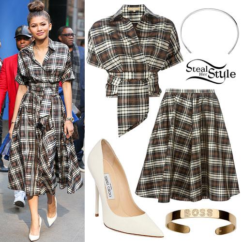 Zendaya: Brown Plaid Blouse & Skirt