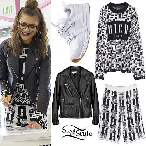 Zendaya: USA Sweater, Knit Shorts