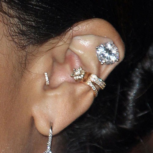 6 celebrity inner conch piercings steal her style. Black Bedroom Furniture Sets. Home Design Ideas
