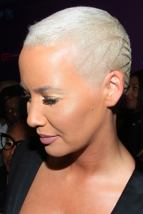 Amber Rose Straight Silver Buzz Cut Hairstyle Steal Her