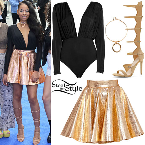 Amira McCarthy: Plunge Bodysuit, Gold Skirt