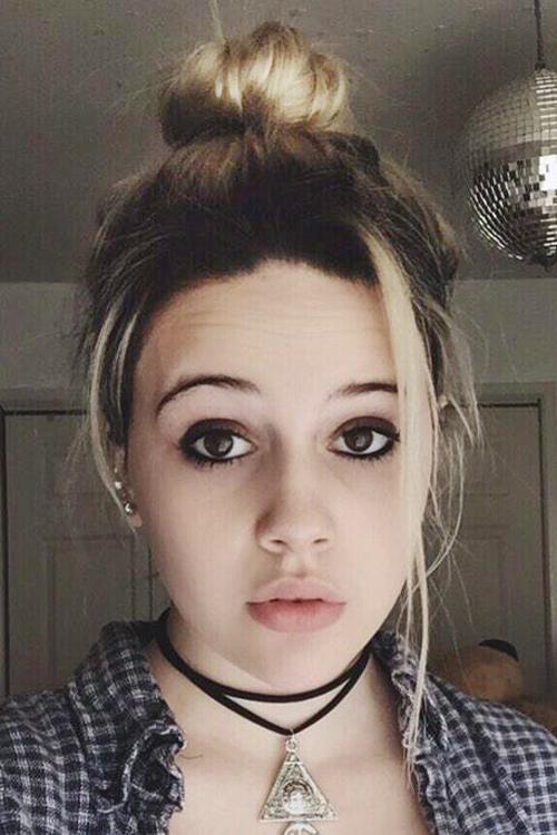 Bea Miller Straight Ash Blonde Dark Brown Bun Face