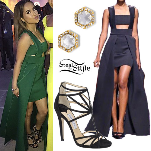 Becky G: Green Cutout Dress Outfit