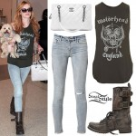 Bella Thorne: Motorhead Tank, Quilted Boots