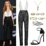 Bella Thorne: Beaded Jumpsuit, Black Sandals