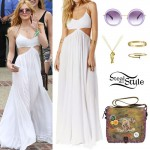 Bella Thorne: White Dress, Striped Bikini