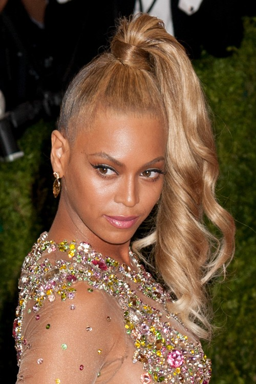 Beyonc 233 Wavy Honey Blonde High Ponytail Ponytail