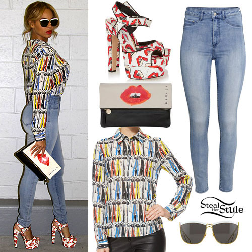 Beyoncé: Printed Shirt, Blue Jeans