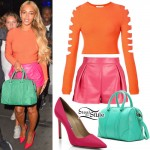 Beyoncé: Hot Pink Leather Shorts Outfit