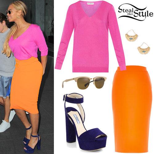 Beyonce: Pink Top, Orange Skirt