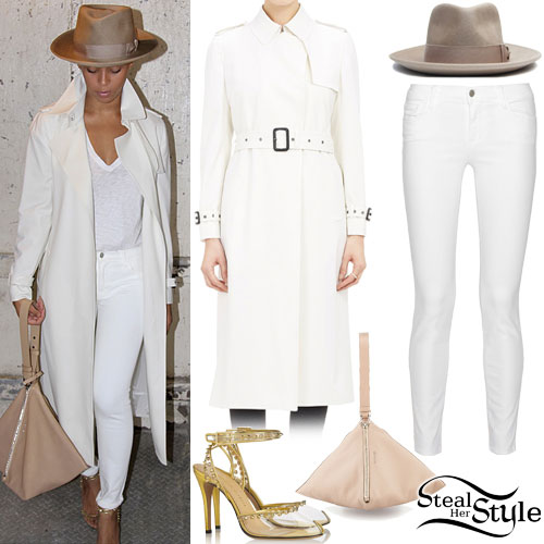 Beyoncé: Trench Coat, White Jeans
