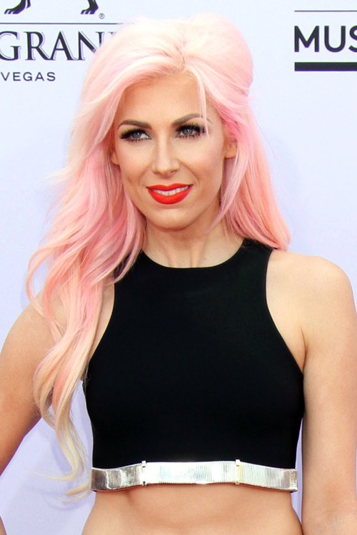 bonnie mckee wavy pink pinnedback side part uneven