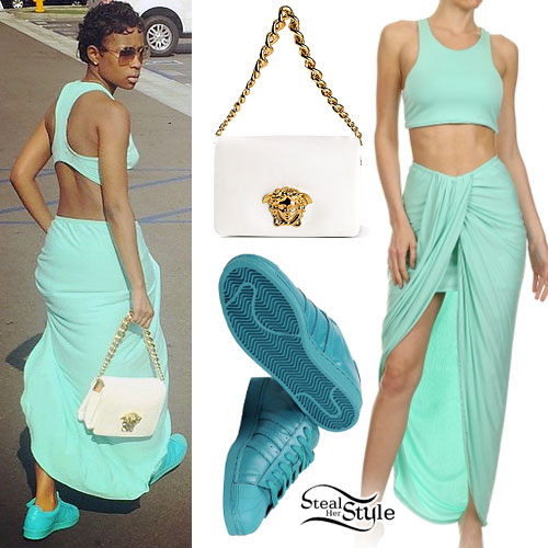 Dej Loaf: Mint Green Top & Skirt